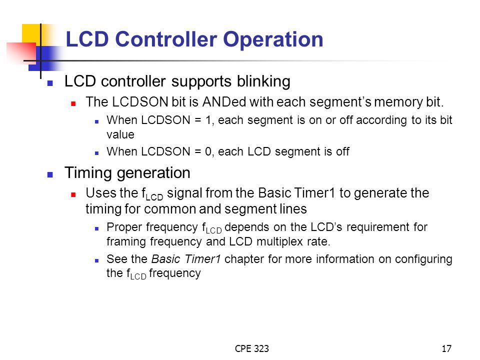 LCD Controller Operation