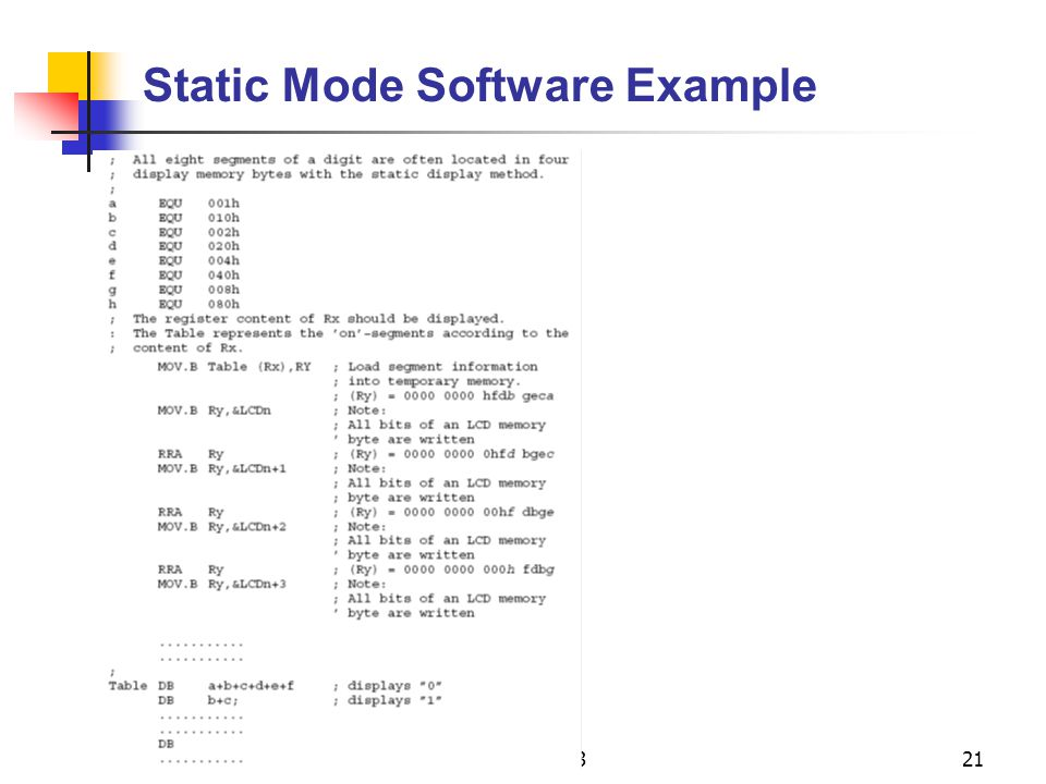 Static Mode Software Example