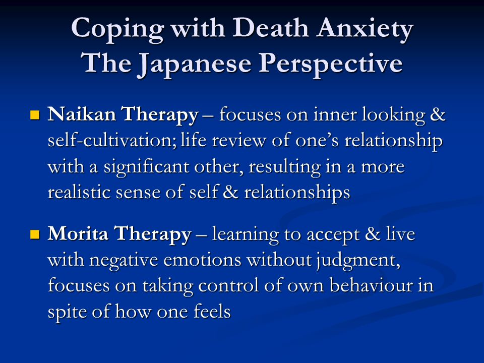 Coping with Death Anxiety The Japanese Perspective