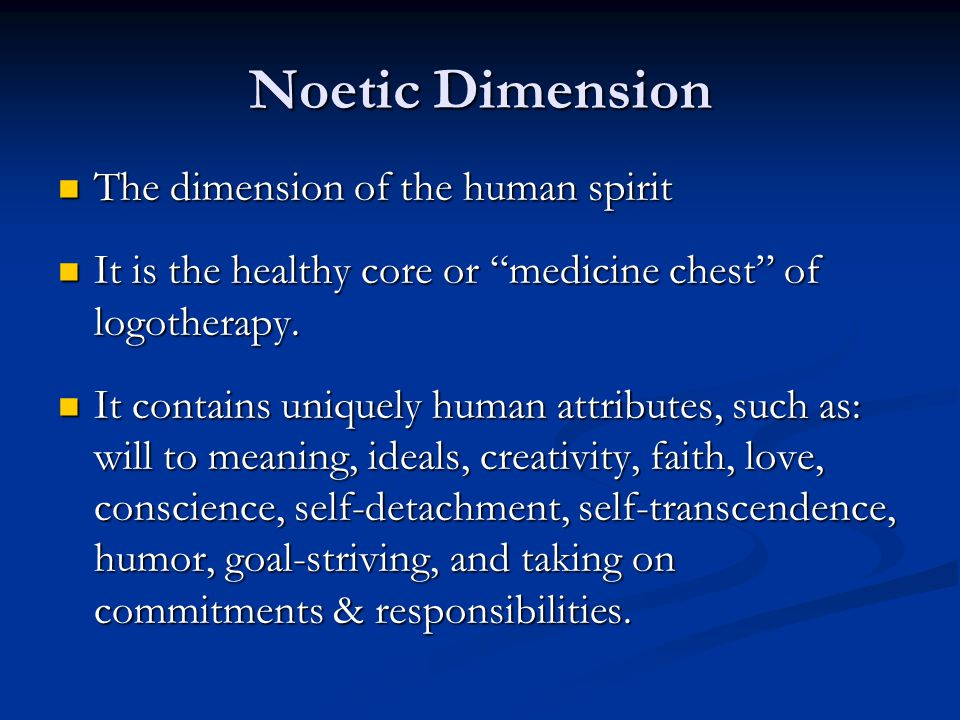 Noetic Dimension The dimension of the human spirit