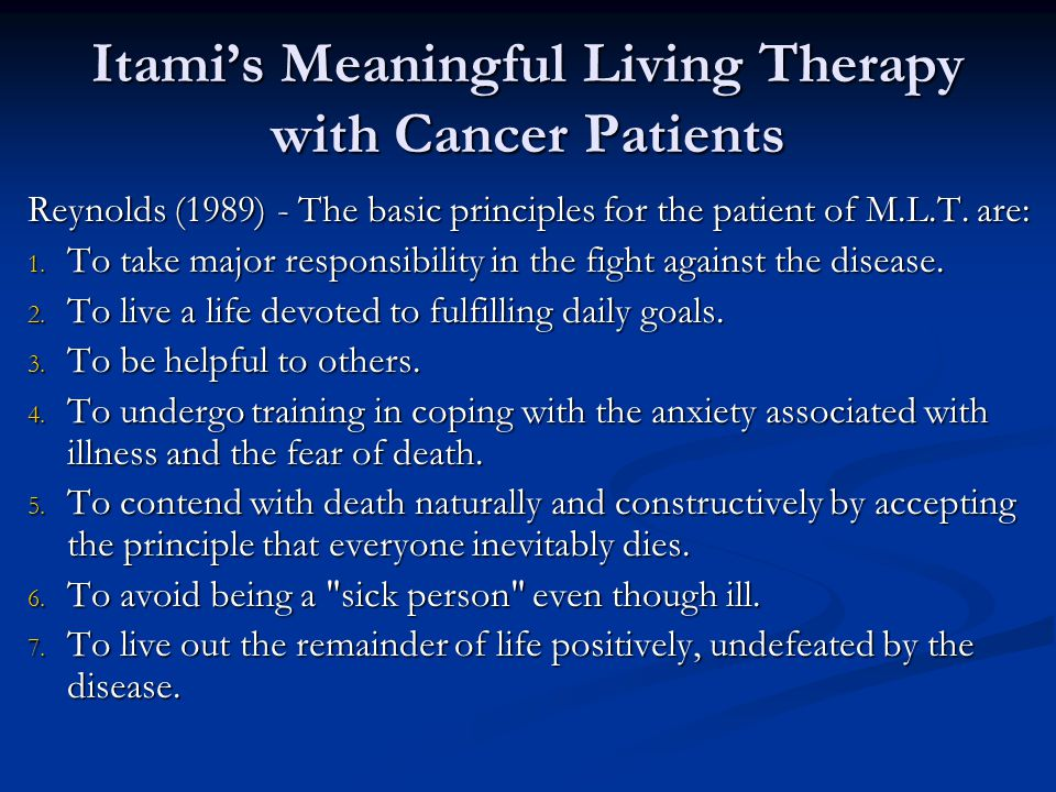 Itami's Meaningful Living Therapy with Cancer Patients