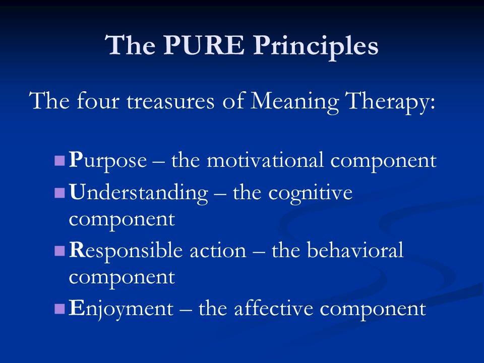The PURE Principles The four treasures of Meaning Therapy: