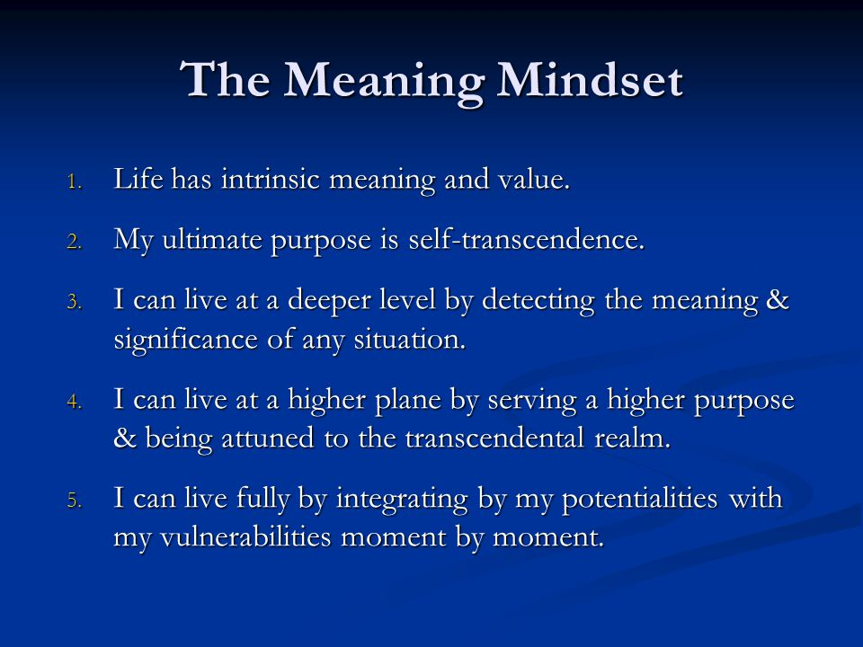 The Meaning Mindset Life has intrinsic meaning and value.