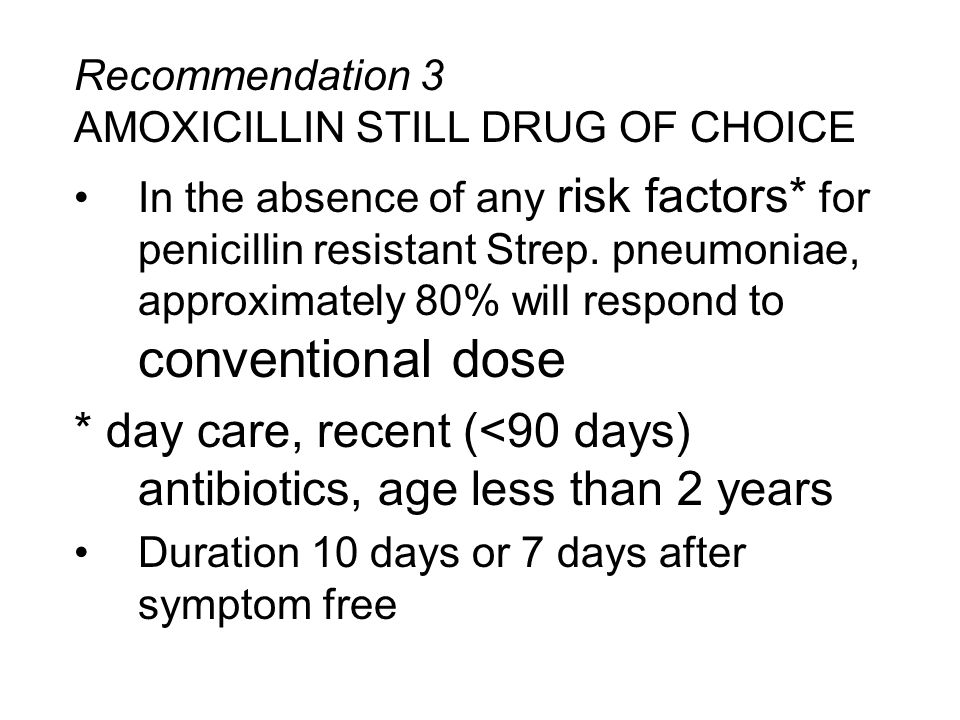 Recommendation 3 AMOXICILLIN STILL DRUG OF CHOICE