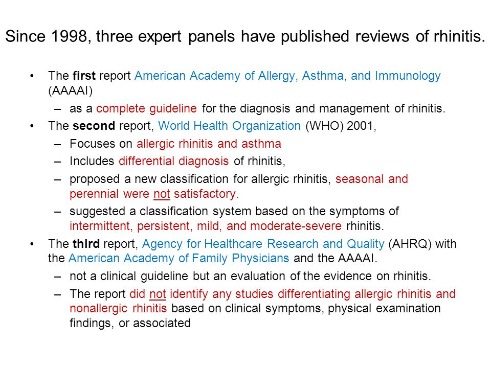 Since 1998, three expert panels have published reviews of rhinitis.