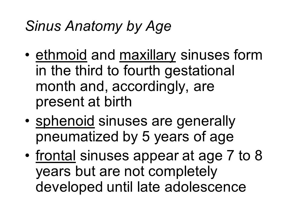 Sinus Anatomy by Age ethmoid and maxillary sinuses form in the third to fourth gestational month and, accordingly, are present at birth.