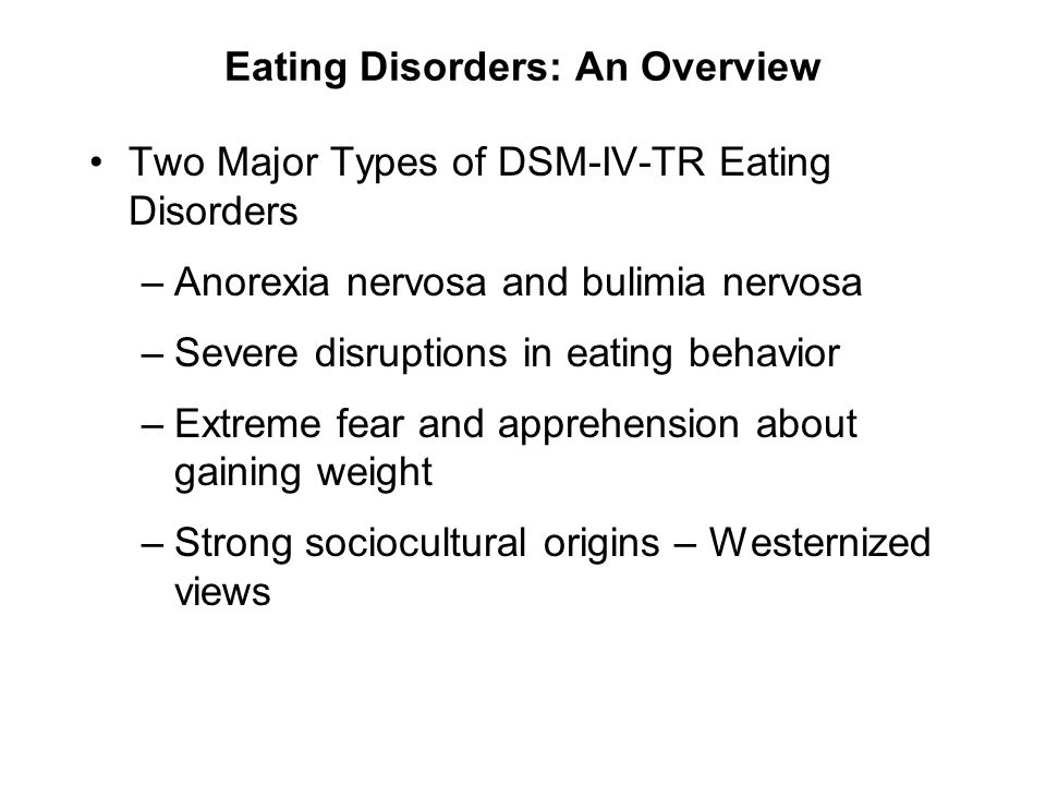 an overview of anorexia nervosa Review article on anorexia nervosa  •to highlight and provide an overview on the epidemiology of anorexia nervosa as one of the common eating disorders.