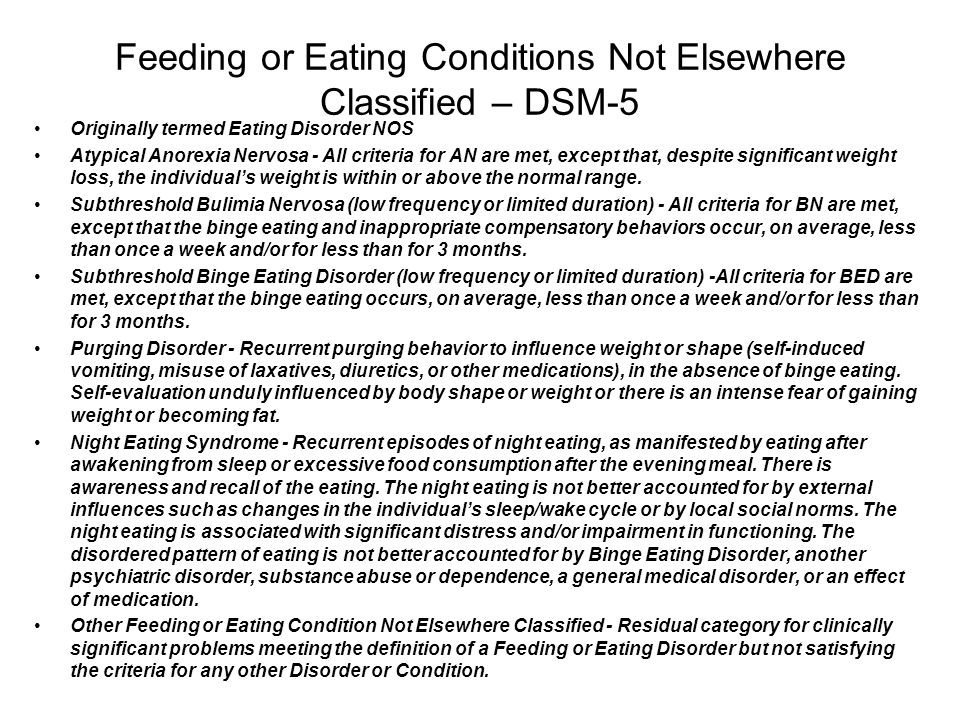 Feeding or Eating Conditions Not Elsewhere Classified – DSM-5