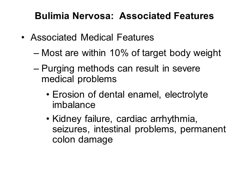 Bulimia Nervosa: Associated Features