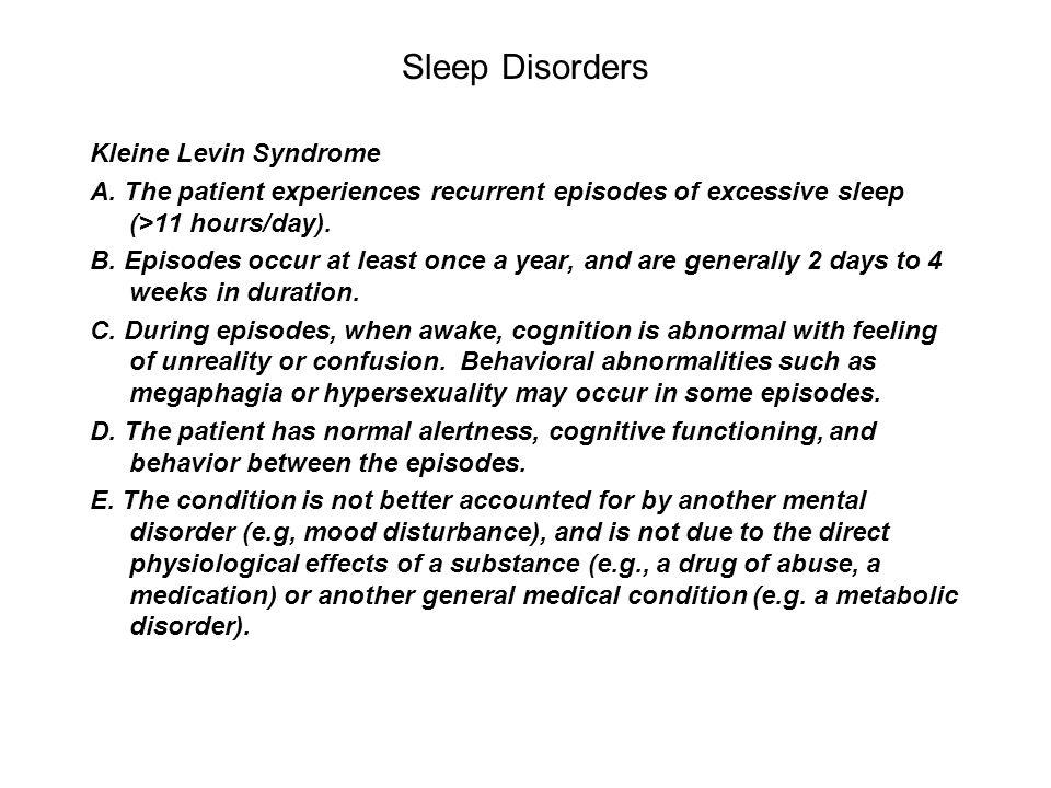 Sleep Disorders Kleine Levin Syndrome