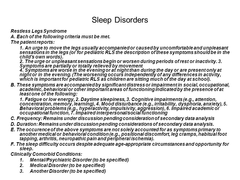 Sleep Disorders Restless Legs Syndrome