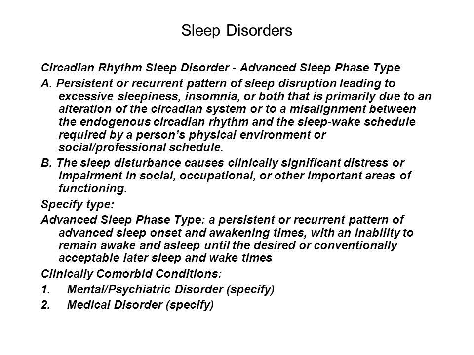 Sleep Disorders Circadian Rhythm Sleep Disorder - Advanced Sleep Phase Type.