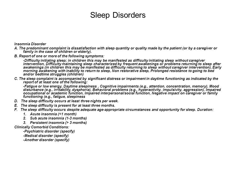 Sleep Disorders Insomnia Disorder