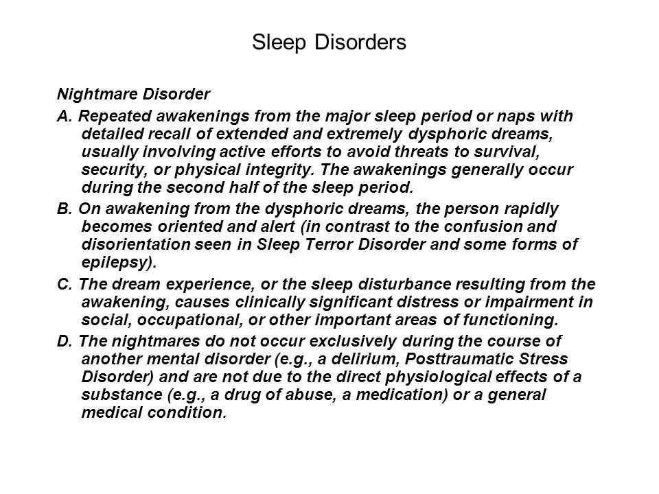 Sleep Disorders Nightmare Disorder