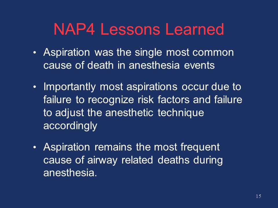 NAP4 Lessons Learned Aspiration was the single most common cause of death in anesthesia events.