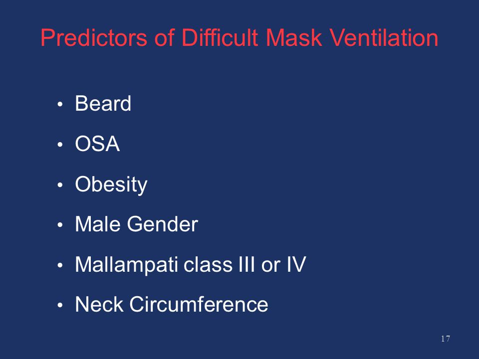 Predictors of Difficult Mask Ventilation