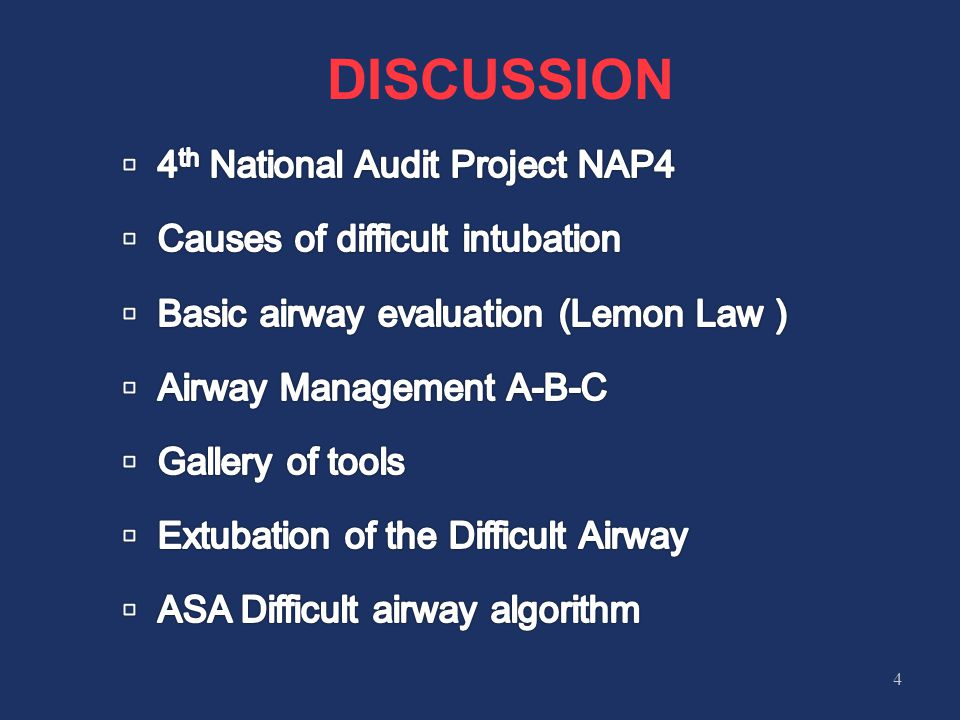 DISCUSSION 4th National Audit Project NAP4