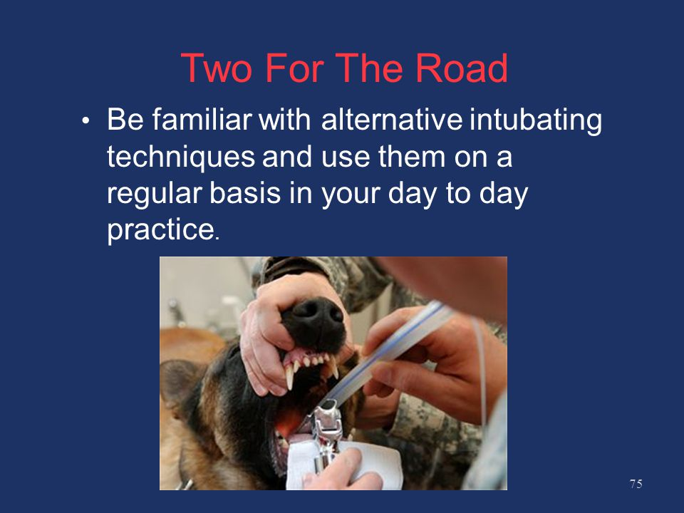Two For The Road Be familiar with alternative intubating techniques and use them on a regular basis in your day to day practice.
