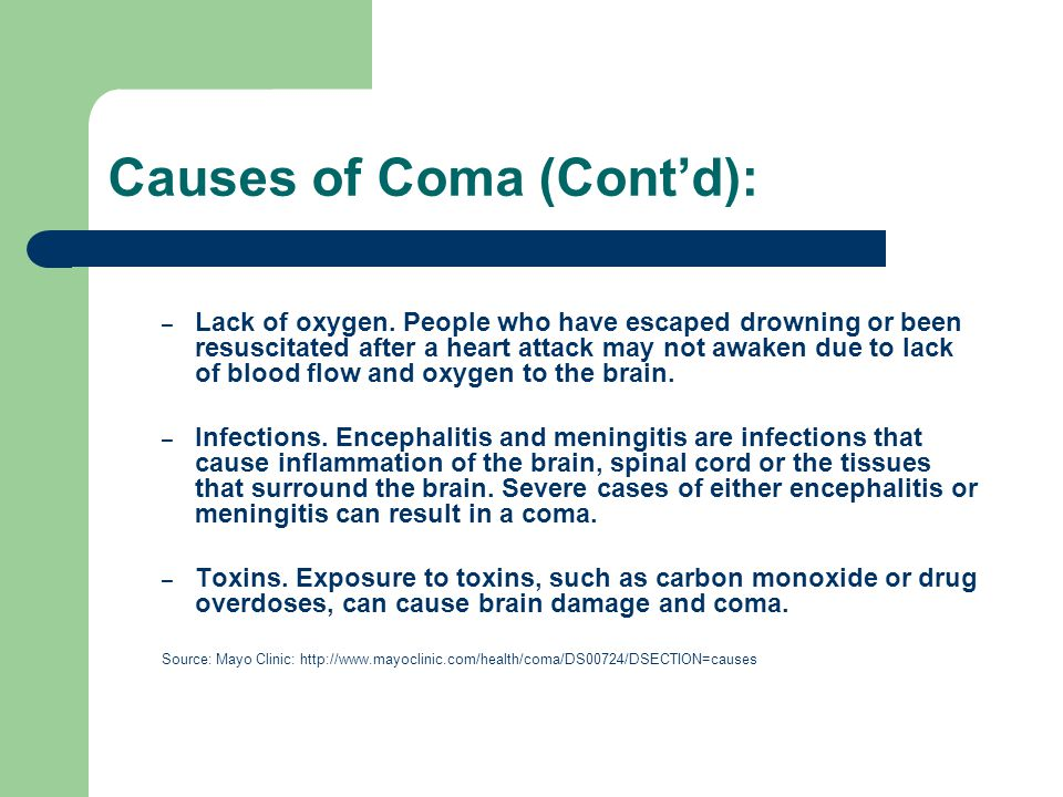Causes of Coma (Cont'd):