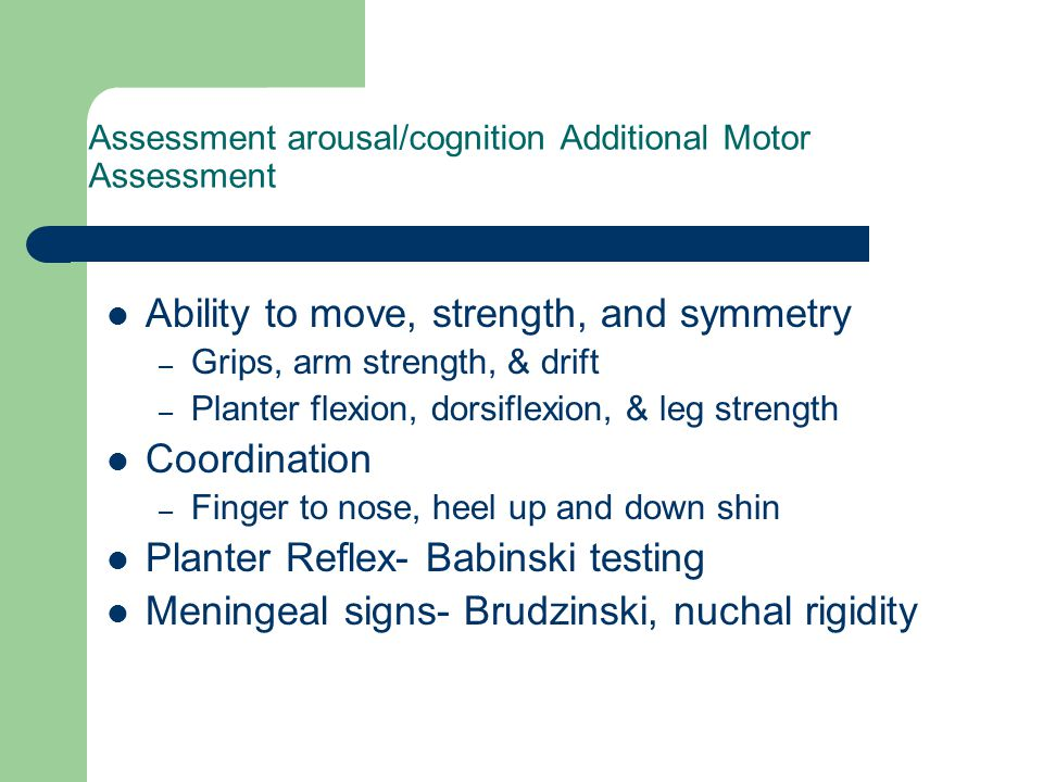 Assessment arousal/cognition Additional Motor Assessment