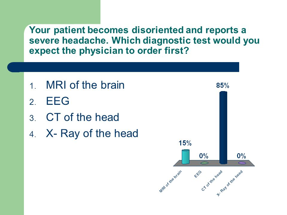 MRI of the brain EEG CT of the head X- Ray of the head