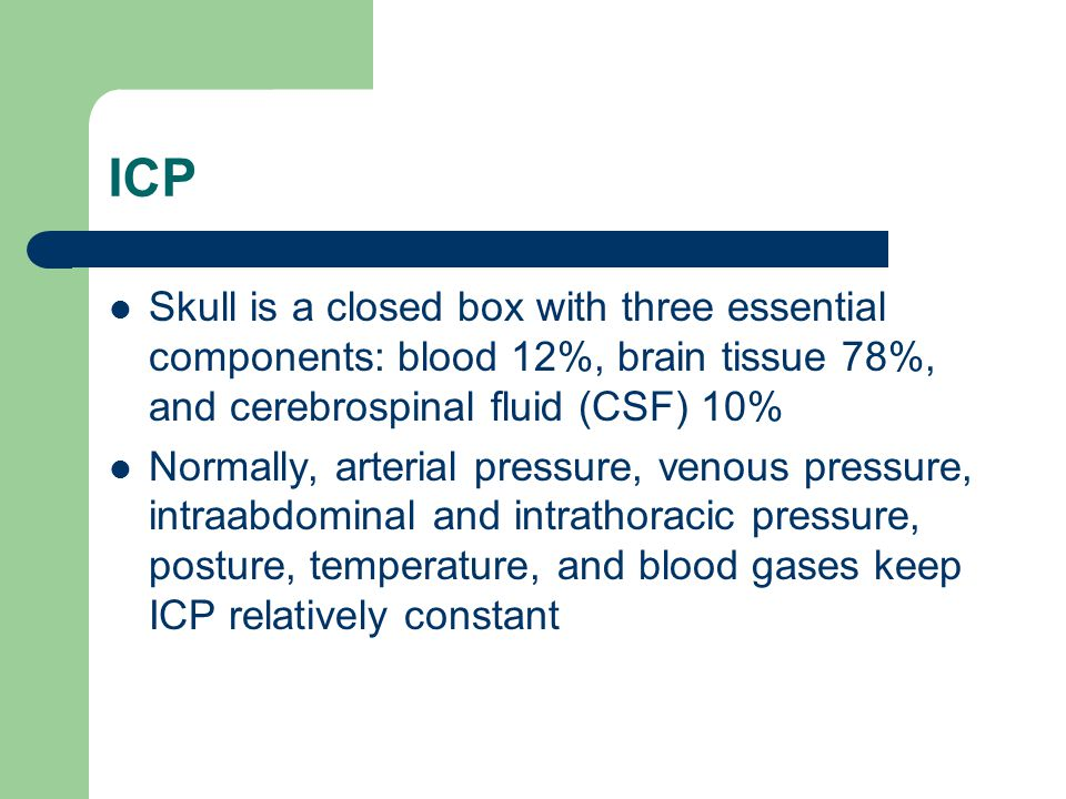 ICP Skull is a closed box with three essential components: blood 12%, brain tissue 78%, and cerebrospinal fluid (CSF) 10%