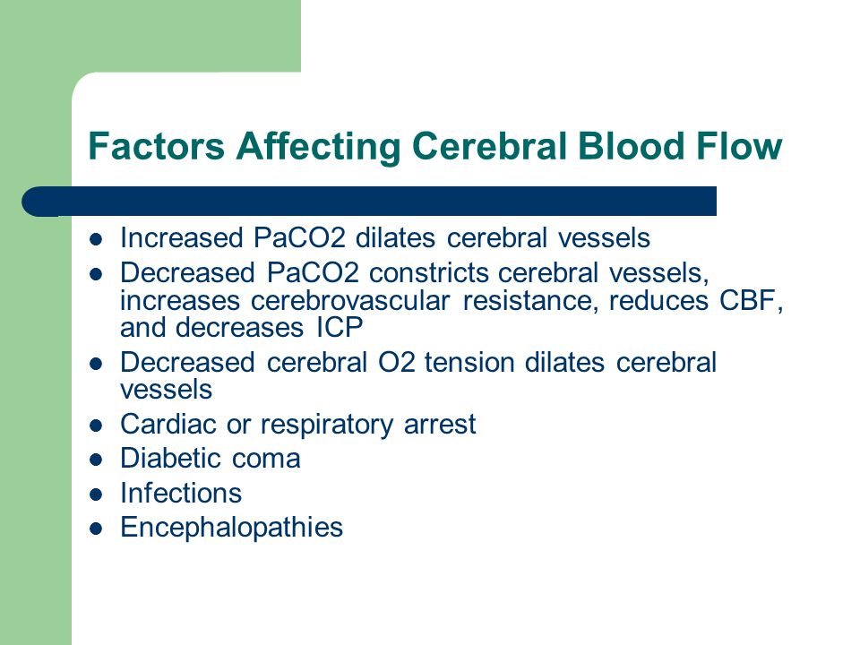 Factors Affecting Cerebral Blood Flow