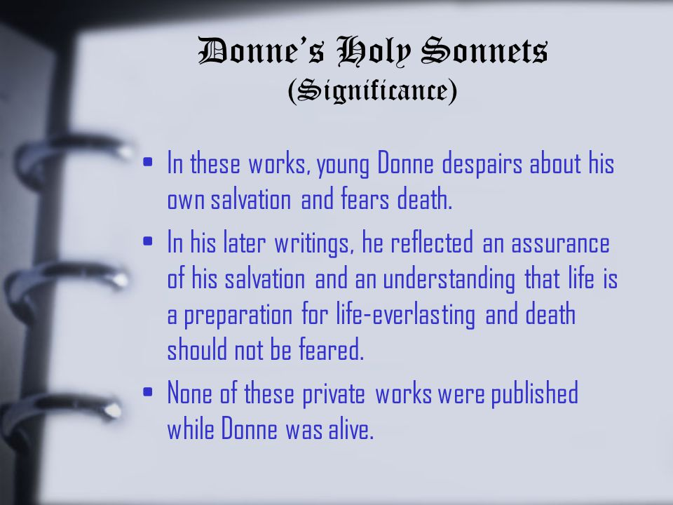 Donne's Holy Sonnets (Significance)