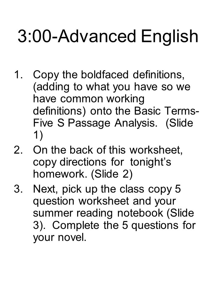 3:00-Advanced English
