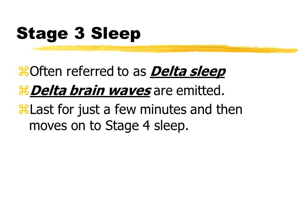 Stage 3 Sleep Often referred to as Delta sleep