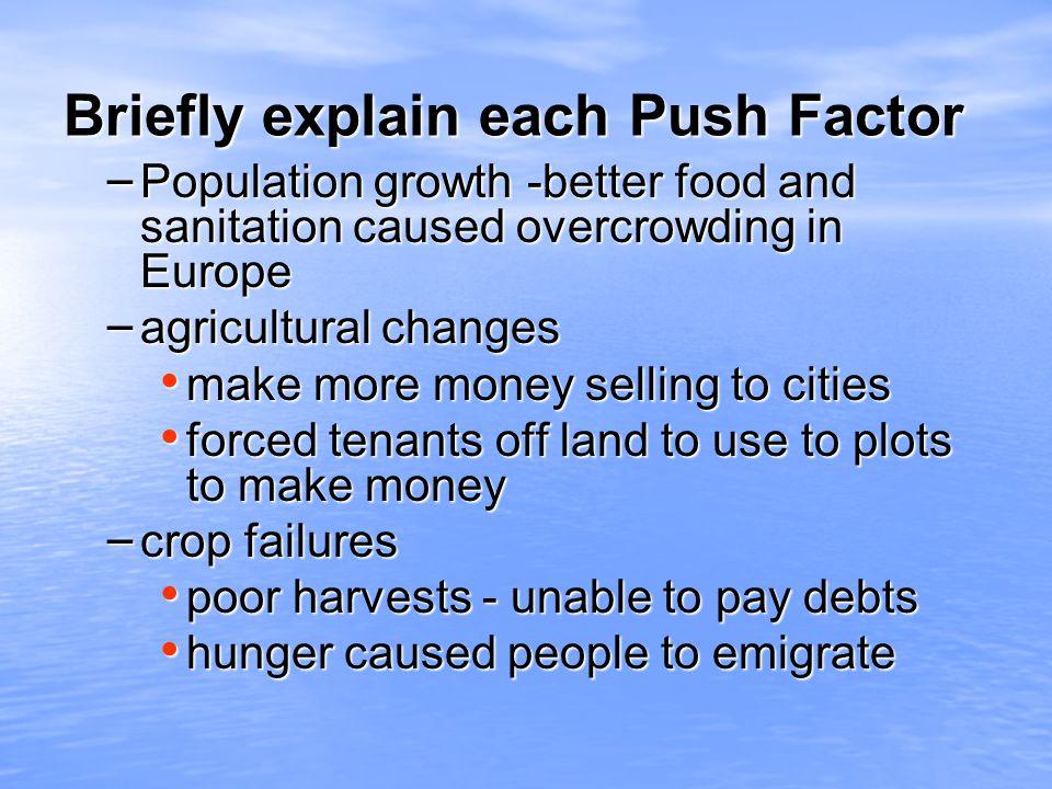 Briefly explain each Push Factor