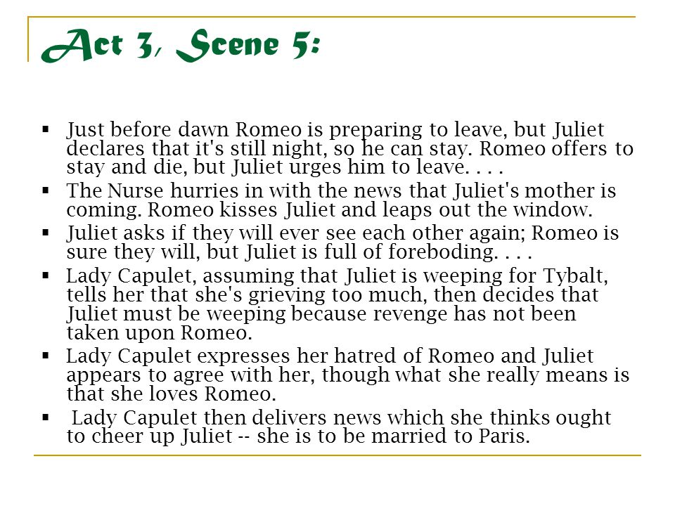 romeo and juliet scene summaries Romeo and juliet: free study guide / notes / analysis / scene summary /  synopsis / download by william shakespeare.