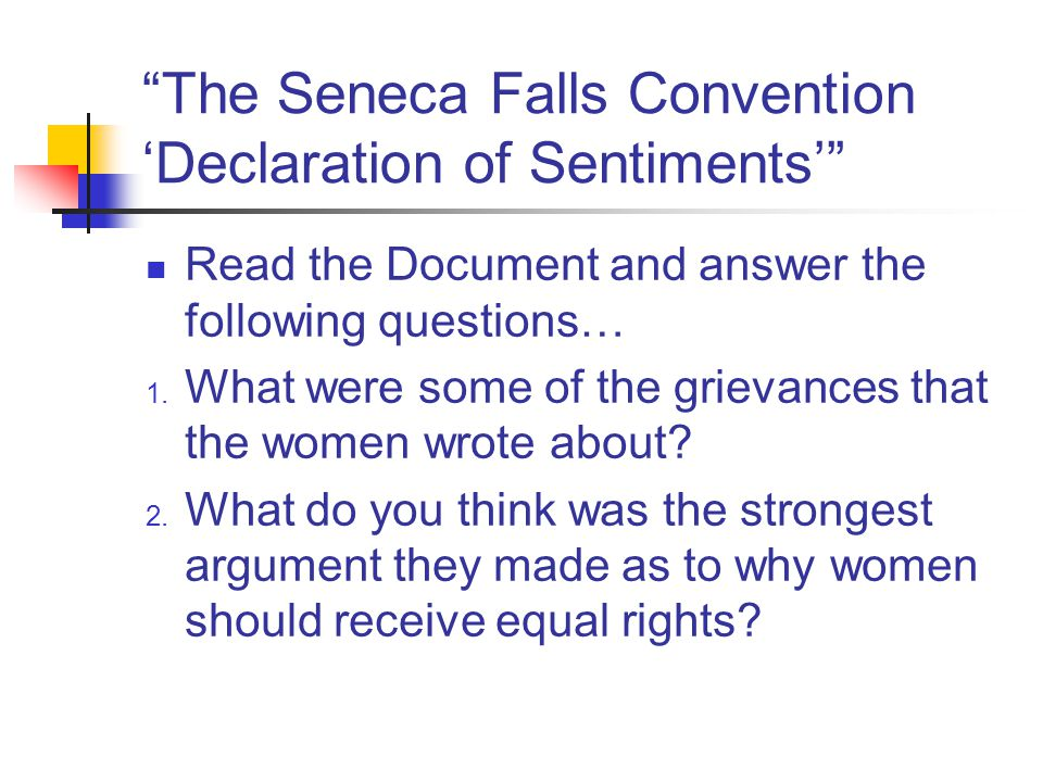 The Seneca Falls Convention 'Declaration of Sentiments'