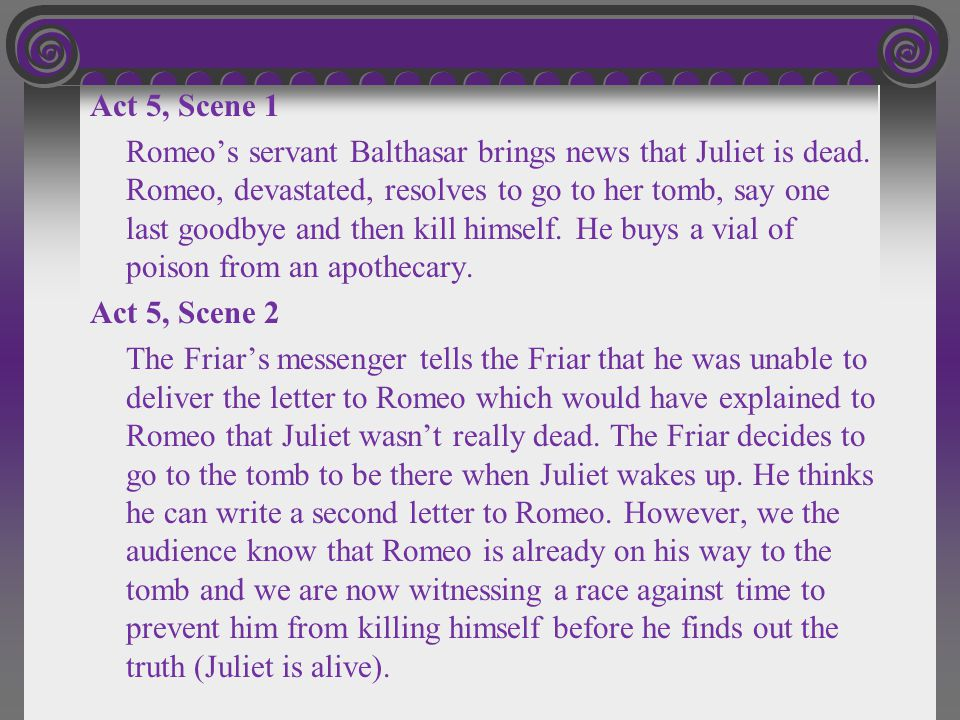 Act 5, Scene 1 Romeo's servant Balthasar brings news that Juliet is dead.