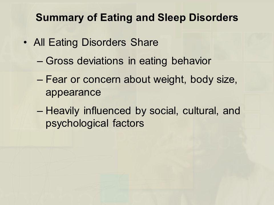 Summary of Eating and Sleep Disorders