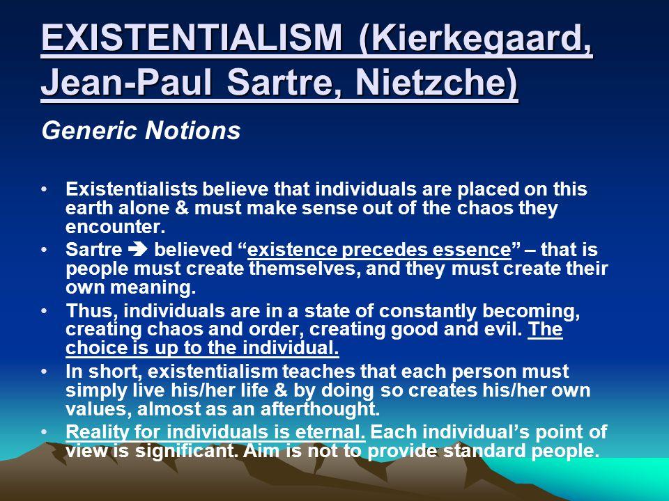 EXISTENTIALISM (Kierkegaard, Jean-Paul Sartre, Nietzche)