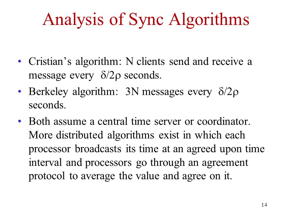 Analysis of Sync Algorithms