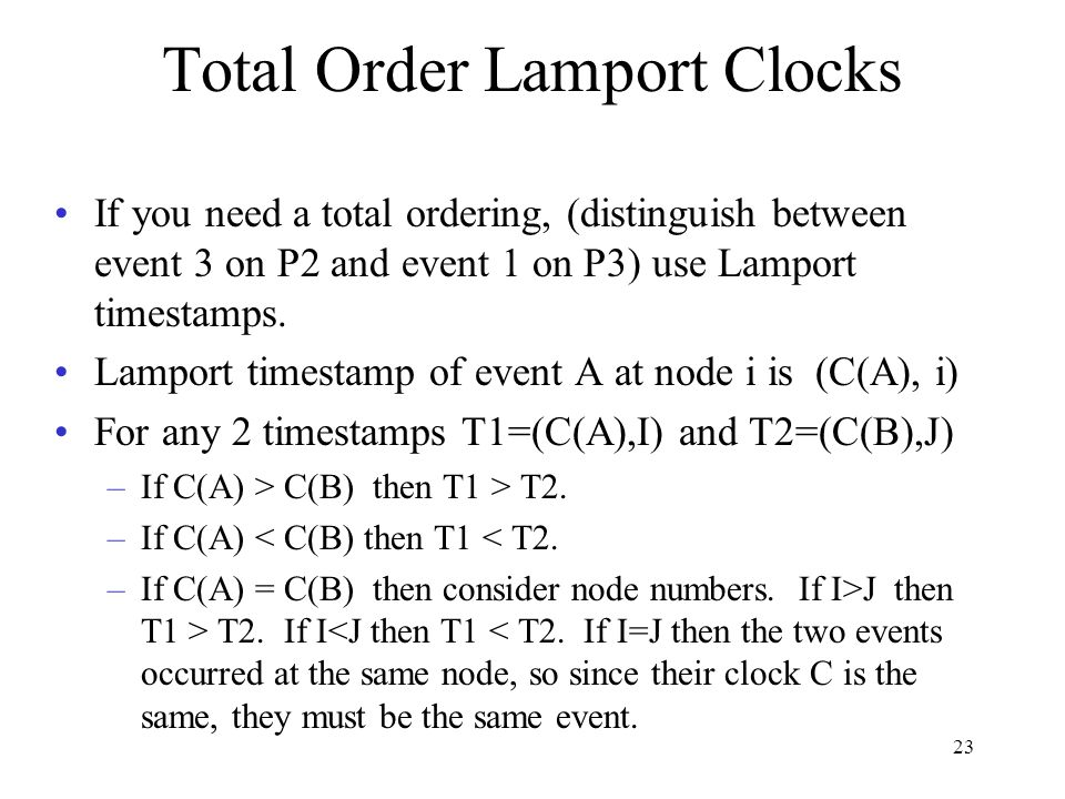 Total Order Lamport Clocks