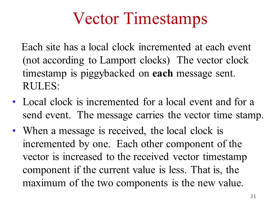 Vector Timestamps