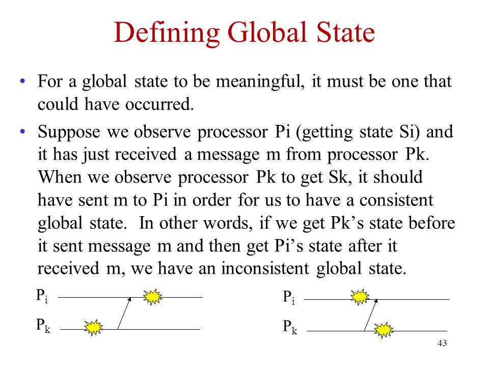 Defining Global State For a global state to be meaningful, it must be one that could have occurred.