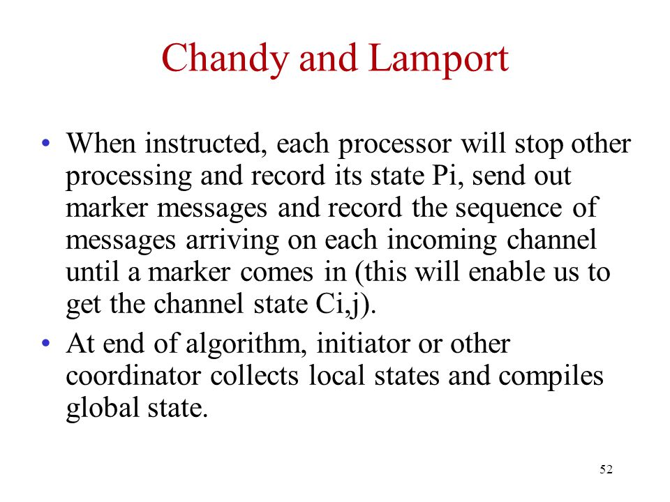 Chandy and Lamport
