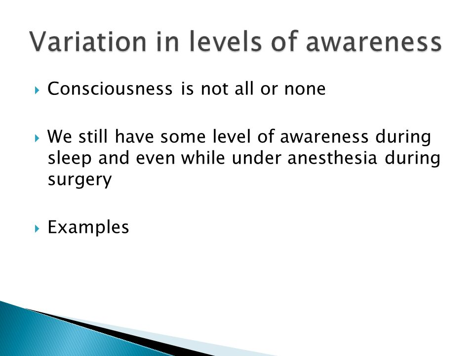 Variation in levels of awareness