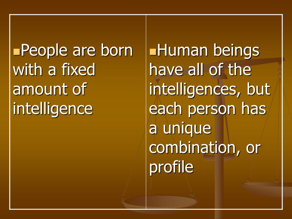 People are born with a fixed amount of intelligence