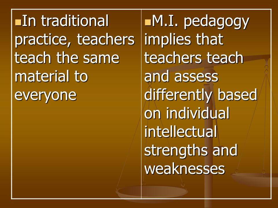 In traditional practice, teachers teach the same material to everyone