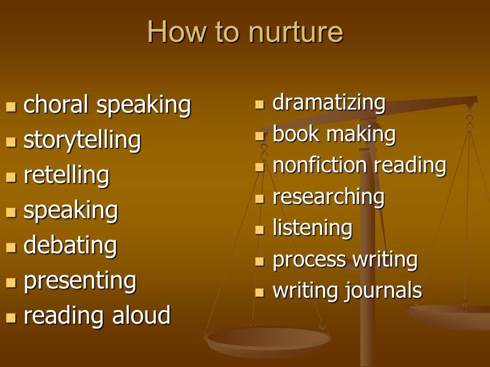 How to nurture choral speaking storytelling retelling speaking