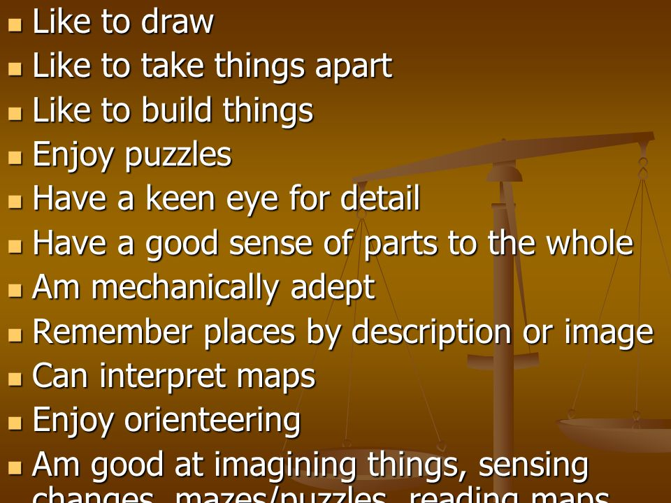 Like to draw Like to take things apart. Like to build things. Enjoy puzzles. Have a keen eye for detail.