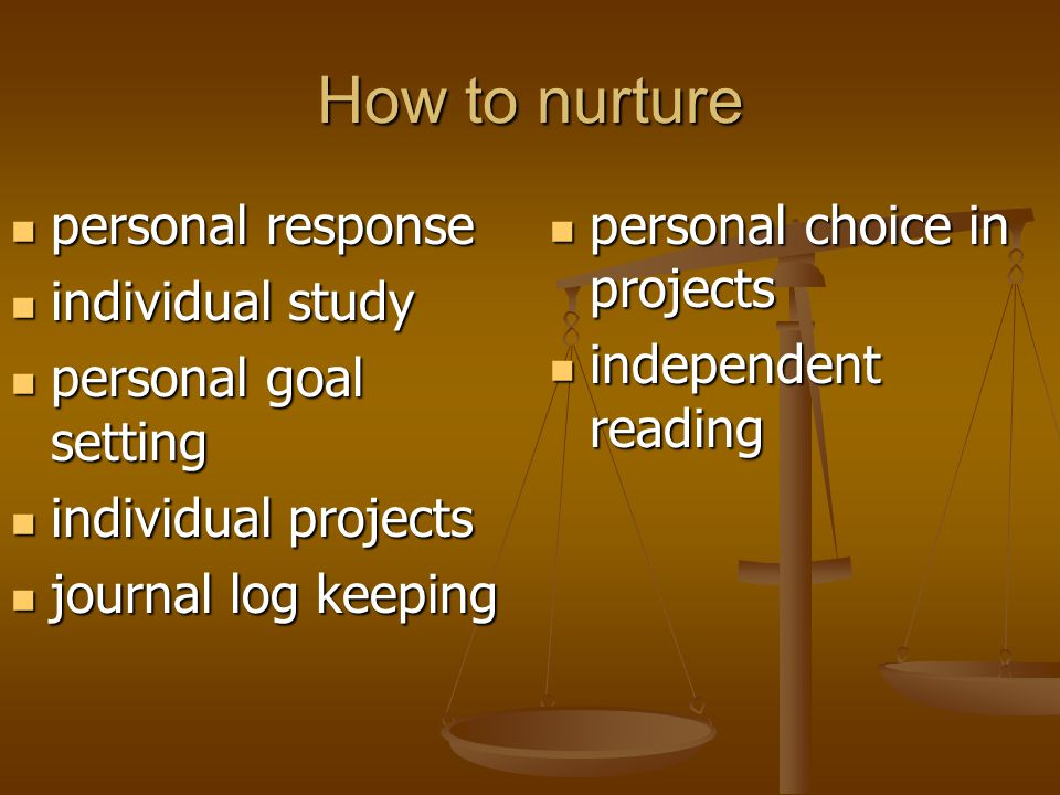 How to nurture personal response individual study