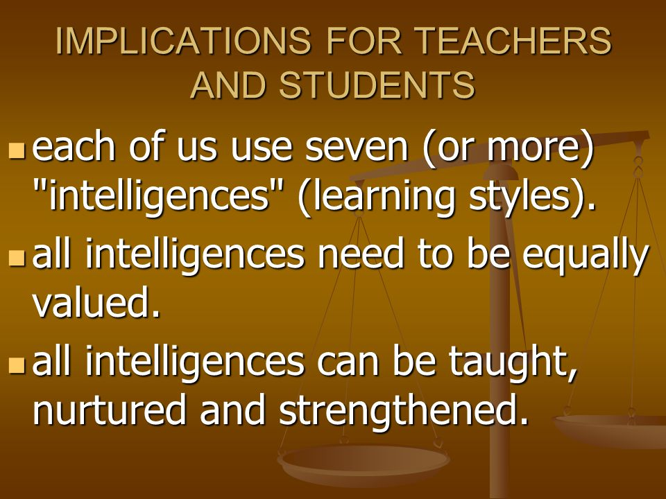 IMPLICATIONS FOR TEACHERS AND STUDENTS