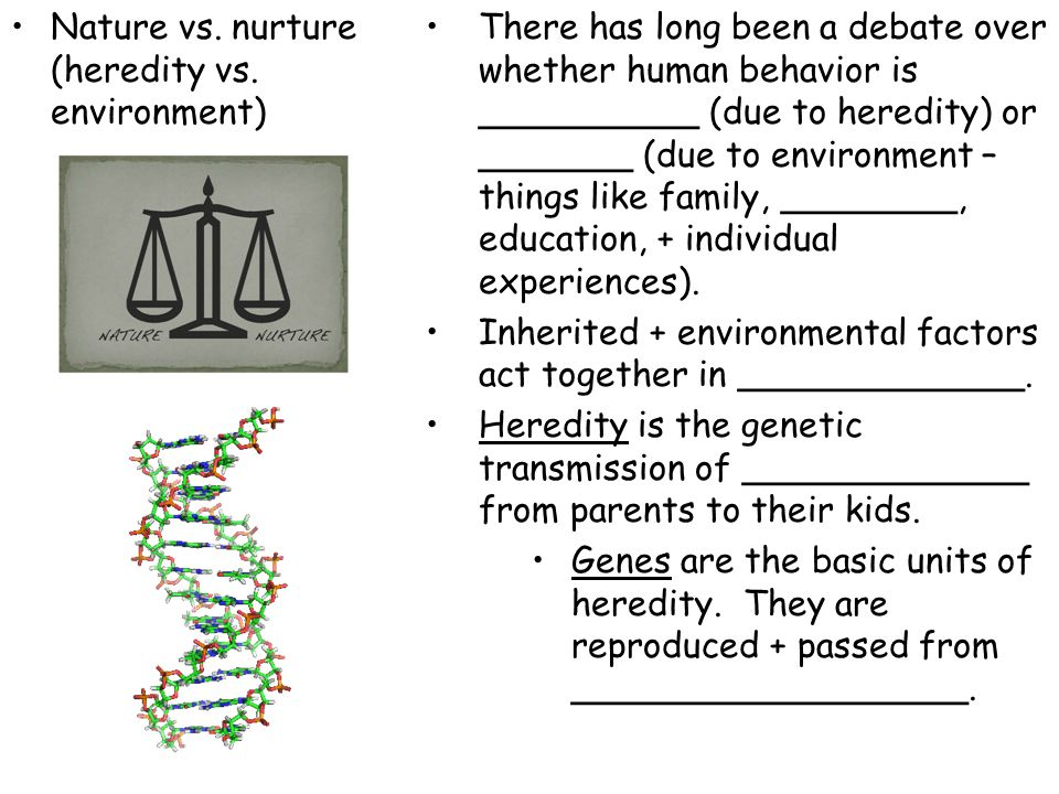 Nature vs. nurture (heredity vs. environment)
