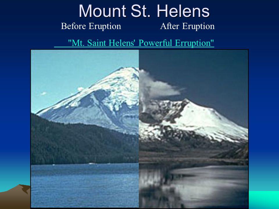 Mount St. Helens Before Eruption After Eruption